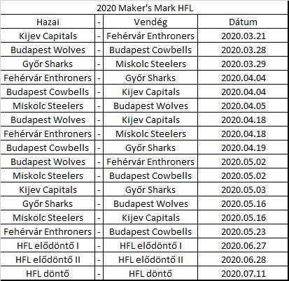 2020 HFL naptár